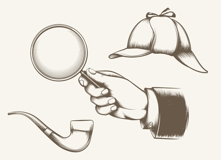 Vintage detective elements. Hand with magnifying glass, smoking pipe and hat inspired by sir Arthur Conan Doyle novels hand drawn vector illustration