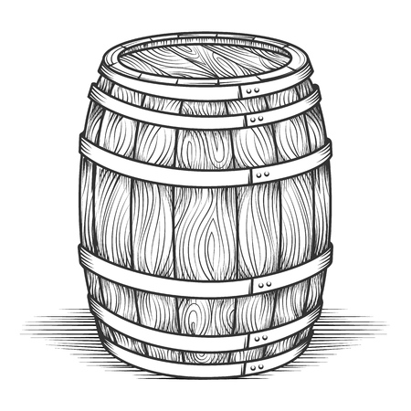 Engraving barrel. Black engraved vintage barrel with wood texture, oak old style cask vector illustration Vettoriali