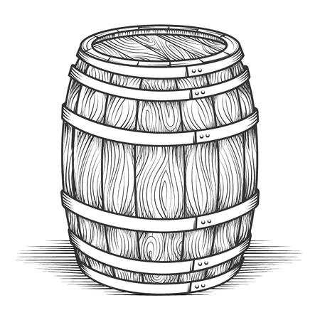 Gravure vat. Zwart gegraveerd vintage vat met houtstructuur, eiken oude stijl vat vectorillustratie Vector Illustratie