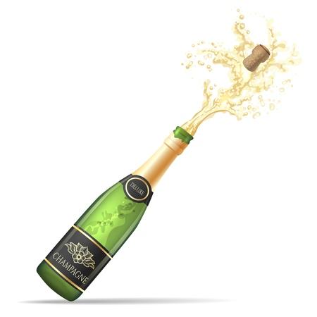 Champagne explosie. Champagnefles pop en fizz vectorillustratie voor alcohol drinken partij viering geïsoleerd op een witte achtergrond Vector Illustratie