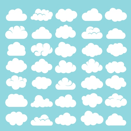 Cartoon clouds. White cumulus cloud shapes on blue sky background vector illustration