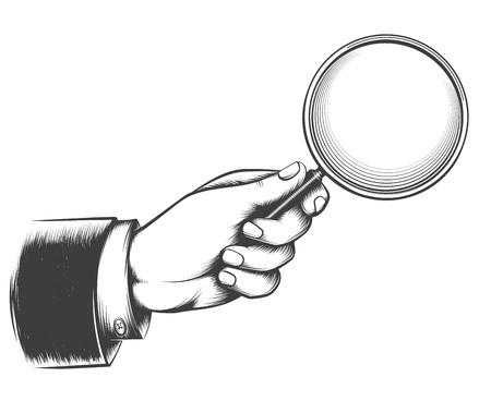 Vintage vergrootglas. Victoriaanse man hand met vergrootglas schets, detective hand met lupe doodle tekening vectorillustratie