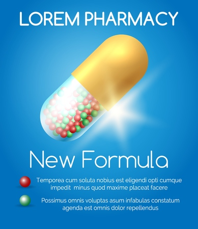 Pharmacy poster with pill. Heart care capsule blue pharmaceutical background, information medical drugs concept vector illustration