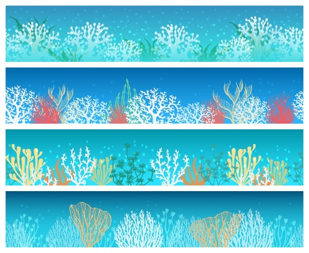 Seaweed banners. Seaweeds and corals banner set, ocean or deep sea horizontal paper cards vector backgrounds