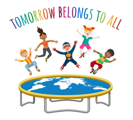Trampoline jumping children. Active cartoon kid with world map and wording tomorrow belongs to all, human freedom concept, vector illustration Ilustração