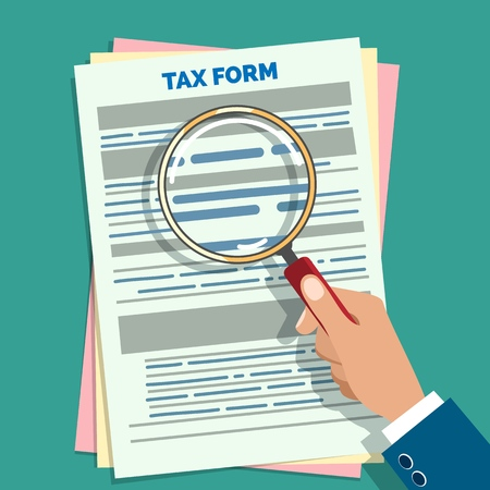 Tax form audit. Auditor hand holding magnifier preparation business taxes vector illustration, paper forms accounting check and audition concept  イラスト・ベクター素材