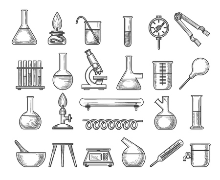 Vintage chemistry lab. Vector ink engraving retro physics laboratory pipe and scale, glass flasks and beaker isolated on white