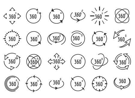 Full rotation icons. Thin line full 3d signs, 360 degree completed panorama icon set