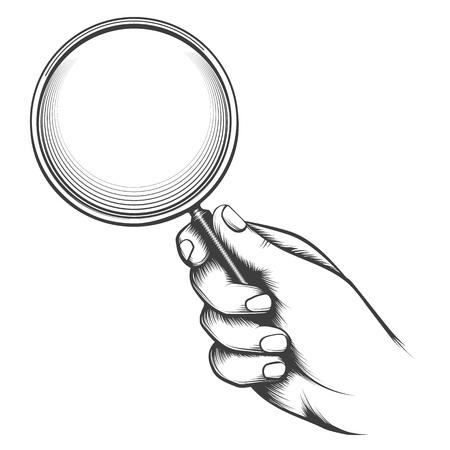 Lente d'ingrandimento vintage. Vecchio schizzo vittoriano della mano dell'uomo con la lente d'ingrandimento, retro illustrazione di vettore del disegno della mano dell'investigatore Vettoriali