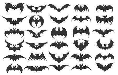 Halloweenowe ikony nietoperzy. Wektor sylwetki nietoperzy wampirów na halloween ilustracji wektorowych Ilustracje wektorowe