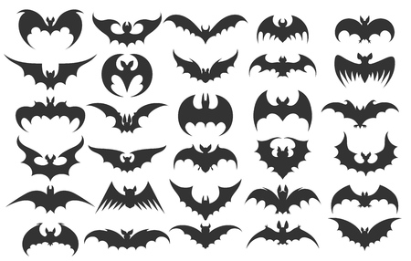 Iconos de murciélago de Halloween. Vector siluetas de murciélagos vampiros para la ilustración de vector de halloween Ilustración de vector