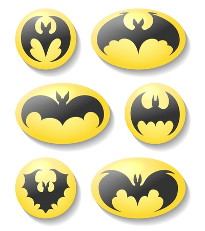 Fledermausknöpfe. Dracula oder Batman Silhouette Vektorsymbolsatz, Vektor Fledermäuse Etiketten isoliert auf weißem Hintergrund