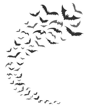 Los murciélagos pululan. Vector siluetas de murciélagos oscuros remolino volando para la decoración nocturna de la naturaleza de octubre de halloween