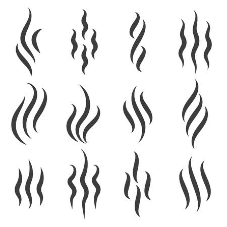 Icone dell'odore. Contrassegno di odore di vapore di cottura o aroma caldo, simboli di odore di vapore fumante