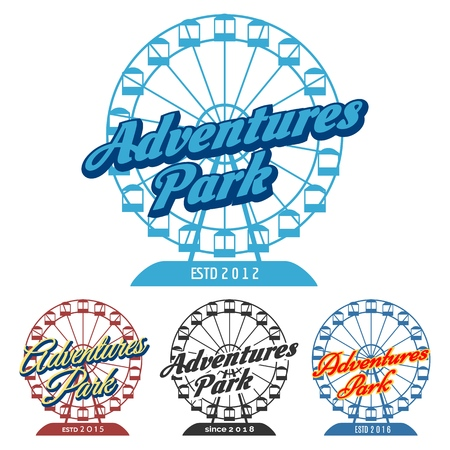Adventure park emblem. Carnival fun park   with ferris wheel, vector illustration 向量圖像