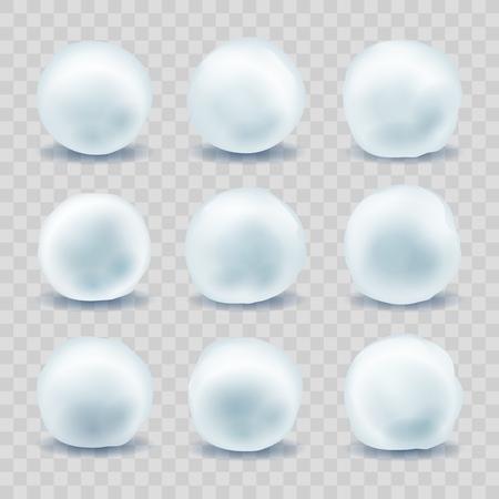 Bolas de nieve. Bolas de nieve para la pelea de invierno de Navidad, conjunto de bolas de nieve de vacaciones de febrero aislado sobre fondo transparente, ilustración vectorial