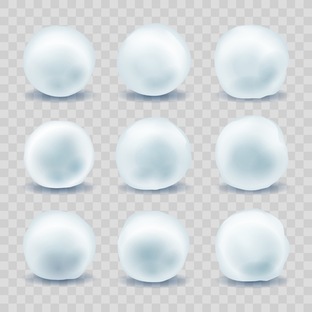 Sneeuwballen. Sneeuwboules voor kerst wintergevecht, februari vakantie sneeuwbal set geïsoleerd op transparante achtergrond, vectorillustratie