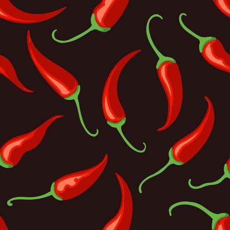Chilli pepper background. Thai food tabasco chilli spices pepper black seamless pattern, vector illustration