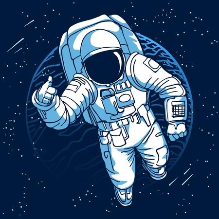 Astronaut. Raumfahrer im Weltraum auf Mond- oder Erdplanetenhintergrund-Vektorillustration Vektorgrafik