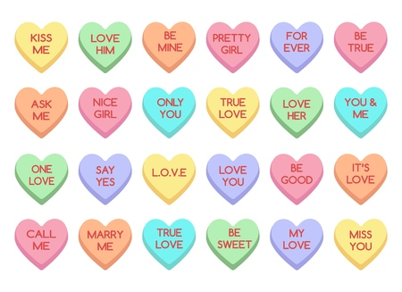 Caramelo dulce del corazón. Dulces de amor aislados sobre fondo blanco, dulces de conversación para el día de San Valentín, corazones de alimentos de azúcar de San Valentín Ilustración de vector