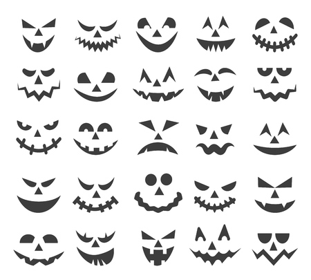 Halloween ghost faces. Scary pumpkin devils smiles, spooky jack o lanter or frightened vampire face set isolated on white background, vector illustration