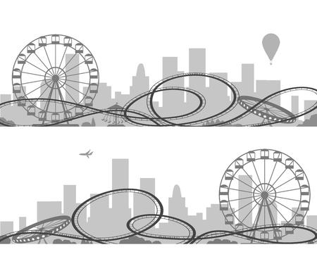 Silhouettes de parc d'attractions. Conception de thème de parc aventure vecteur noir et blanc isolé sur fond blanc