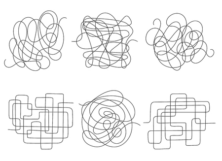 Chaos lines. Tangled clew set vector illustration, insane scribble lines or confused brain doodle scribbles symbols