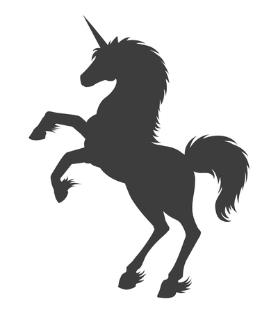 Unicorn silhouette. Vector fairy horse monochrome illustration, magician girl fantasy outline unicorn isolated on white background