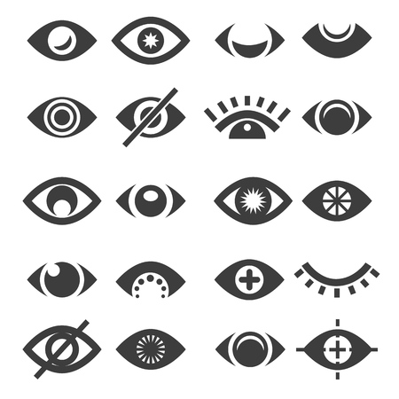 Eye icon set. Vector open and closed eyes icons, supervision or supervise, sleep and view simple eyeball signs isolated on white background Stock Photo