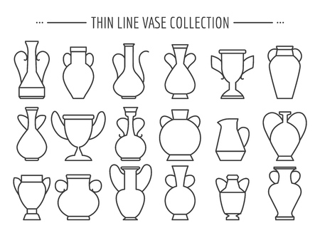 Thin line vases. Linear vase modern and vintage vector icons collection