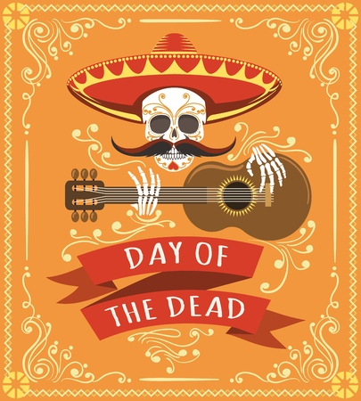 Mexican dead day poster. Latino mexico halloween day party card with skull, mexican hat and spanish guitar vector illustration  イラスト・ベクター素材