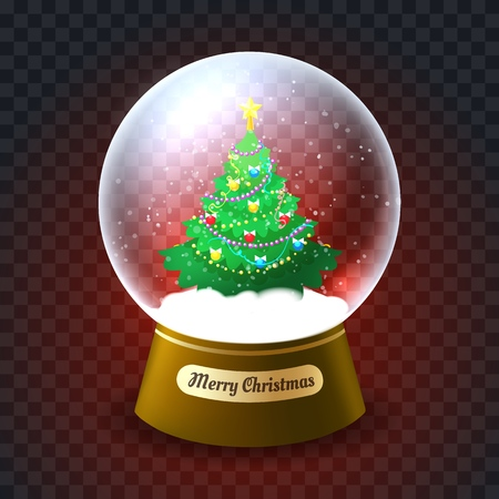 Xmas tree snowglobe. Glass snow globe vector illustration with christmas tree, christmastree ball for party cards
