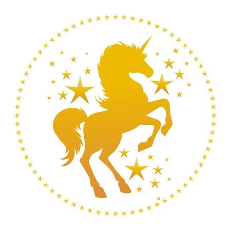 Silueta de unicornio con estrellas. Vector silueta de unicornio dorado, caballo de unicornios de cuento de hadas de fantasía misteriosa aislado en blanco