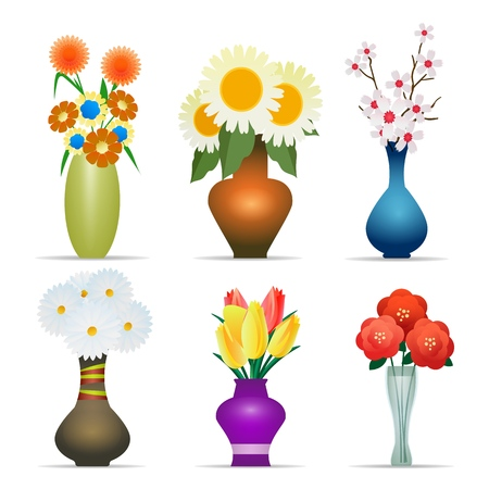 Vases with flowers. Flower plant vase set vector illustration, bouquet with yellow tulips and red poppies