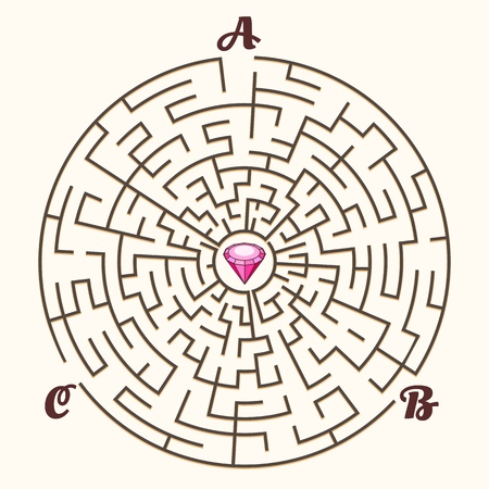 Maze. Vector labyrinth path game, illustration maze concept with three entrances and diamond solution