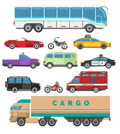 Urban vehicle set. Set of city cars, vector illustration of transport with taxi and police, bus and motorcycleurban flat  イラスト・ベクター素材