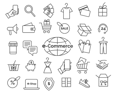 E-commerce line icons. Online shopping and delivery elements in thin line style, web retail icon set, simple vector illustration  イラスト・ベクター素材