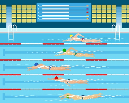 Swimmers in pool. Male swimming racing in sport pool vector illustration, sports swim competition for men