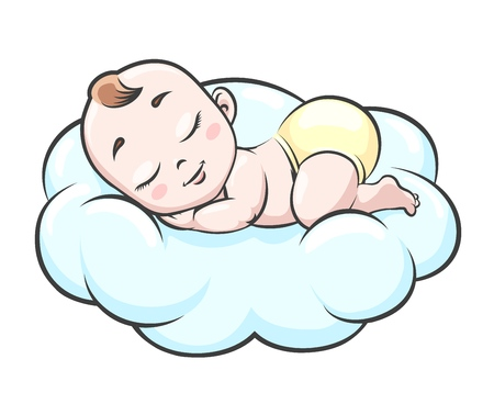Sleeping baby on cloud. Newborn happy infant sleep in clouds vector illustration, smilingcute little toddler with angel face in diapers