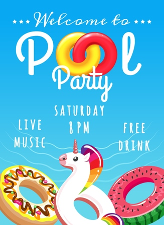 Pool party poster. Summer swimming party vector invitation or pool holiday flyer design for kids with rubber lifebuoys
