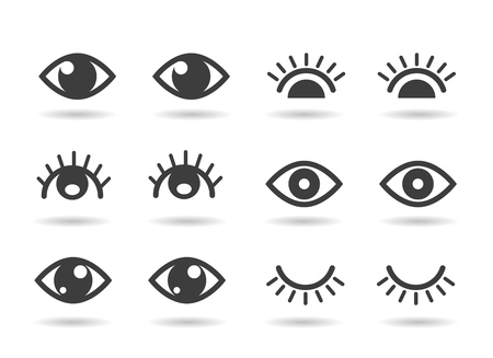 Eyes and eyelashs icons. Open ad closed human eye icon set, cute graphic silhouettes vector eyes  イラスト・ベクター素材