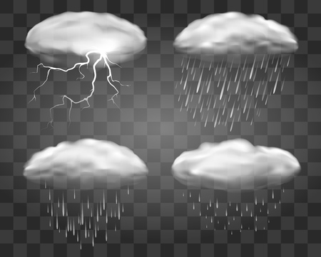 Realistic rain clouds on transparent background. Fall weather eddy clouds, vector 3d rainstorm cloud set with heavy stormy rainfall  イラスト・ベクター素材