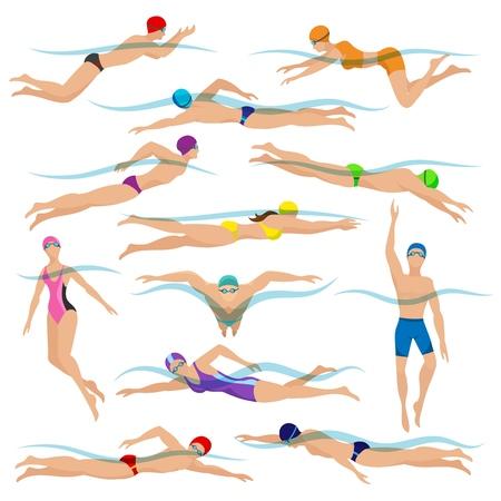 Vector de nadadores. Varios personajes nadando personas en poses de acción, acción de natación de hombre de deporte Ilustración de vector