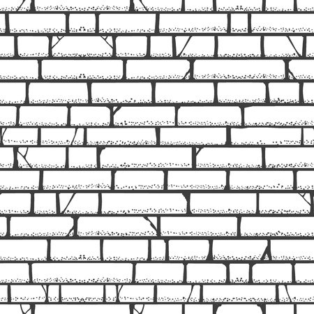 Brick wall sketch pattern. Walls vector blank building bricks texture frame white background