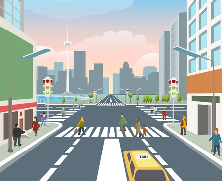 People on road. Cars driveway, human city walking travel, asphalt crossing road, pedestrian traffic street, vector illustration