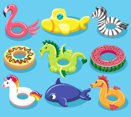 Inflatable toy lifebuoys. Swimming pool rings like animal toys, rubber lifebuoy or lifesaver items for summer beach, vector illustration  イラスト・ベクター素材