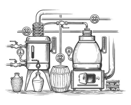 Croquis de distillerie. Équipement de fabrication de distillation d'alcool de gin ou de whisky au calme rétro, alambic de gravure de whisky moonshine, illustration vectorielle