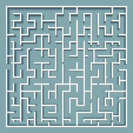 Square labyrinth maze. Simple or difficult vector labyrinth vector illustration