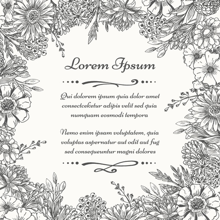 Sketch botanical frame. Vintage floral frame with hand drawn plants and flowers, vector plant engraved botanic drawing border, vector illustration  イラスト・ベクター素材