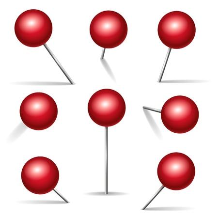 Punaise rouge. Broches 3d vectorielles avec angles métalliques et têtes rondes pour tableau d'affichage, icônes de punaise isolées sur fond blanc